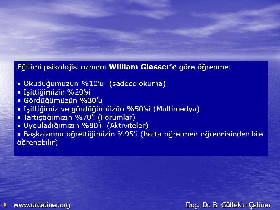 Eğitimi psikolojisi uzmanı William Glasser'e göre öğrenme: