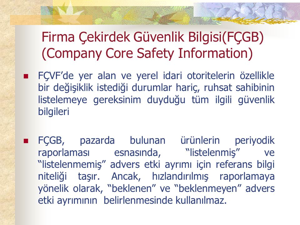 Firma Çekirdek Güvenlik Bilgisi(FÇGB) (Company Core Safety Information)