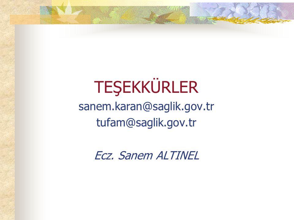 TEŞEKKÜRLER sanem.karan@saglik.gov.tr tufam@saglik.gov.tr