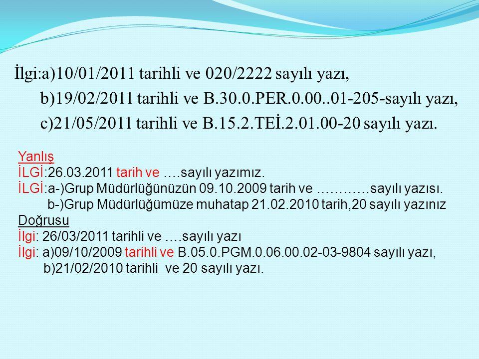 İlgi:a)10/01/2011 tarihli ve 020/2222 sayılı yazı, b)19/02/2011 tarihli ve B.30.0.PER.0.00..01-205-sayılı yazı, c)21/05/2011 tarihli ve B.15.2.TEİ.2.01.00-20 sayılı yazı.