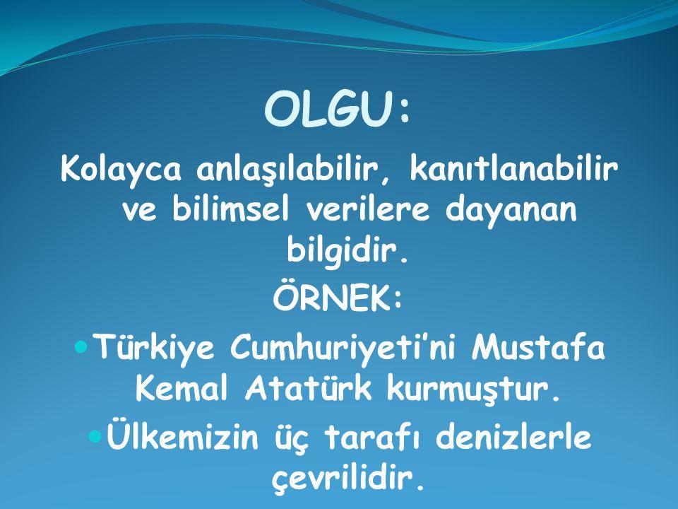 OLGU: Kolayca anlaşılabilir, kanıtlanabilir ve bilimsel verilere dayanan bilgidir. ÖRNEK: Türkiye Cumhuriyeti'ni Mustafa Kemal Atatürk kurmuştur.