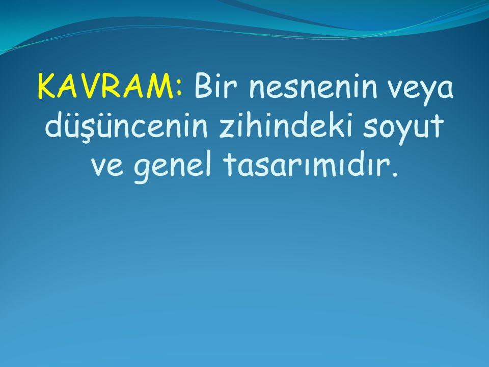KAVRAM: Bir nesnenin veya düşüncenin zihindeki soyut ve genel tasarımıdır.