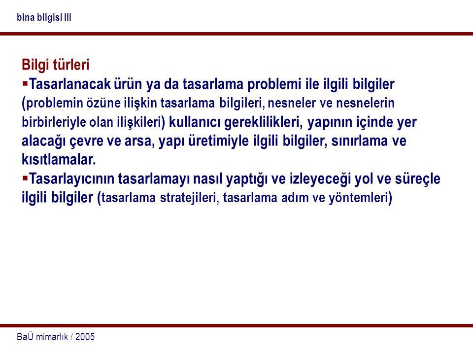 bina bilgisi III Bilgi türleri.