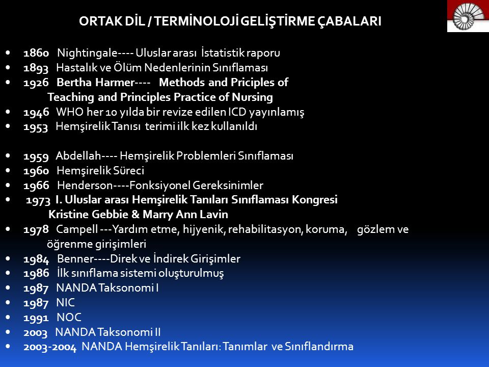 ORTAK DİL / TERMİNOLOJİ GELİŞTİRME ÇABALARI