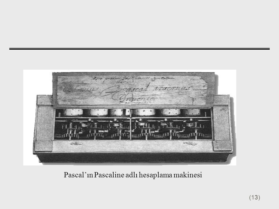 Pascal'ın Pascaline adlı hesaplama makinesi