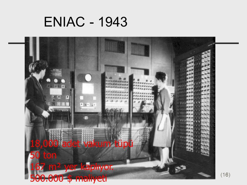 ENIAC - 1943 18,000 adet vakum tüpü 50 ton 167 m² yer kaplıyor.