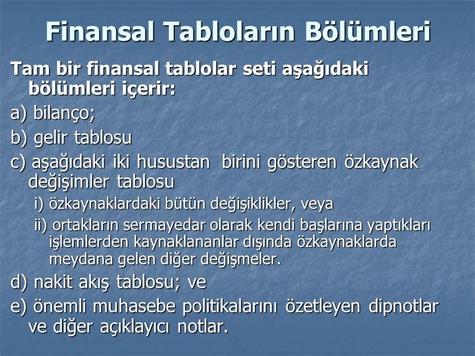 Finansal Tabloların Bölümleri