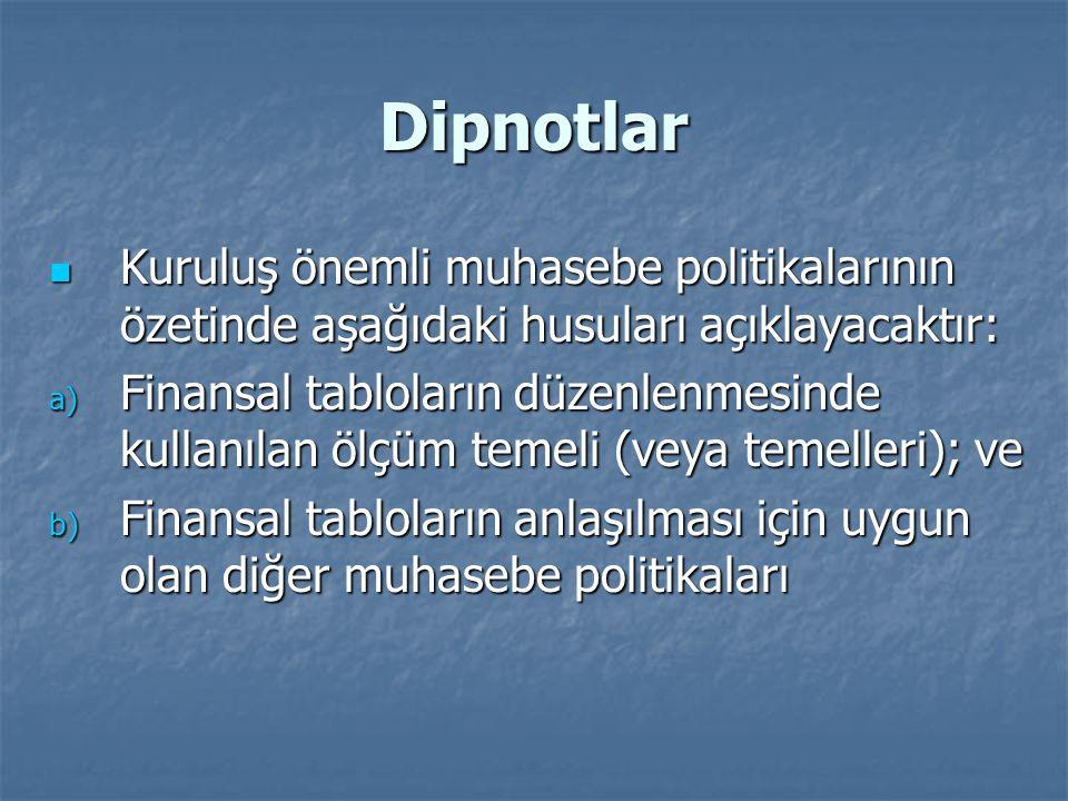 Dipnotlar Kuruluş önemli muhasebe politikalarının özetinde aşağıdaki husuları açıklayacaktır: