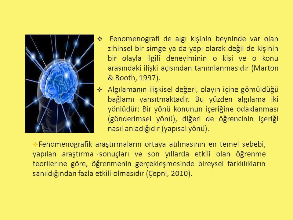 Fenomenografi de algı kişinin beyninde var olan zihinsel bir simge ya da yapı olarak değil de kişinin bir olayla ilgili deneyiminin o kişi ve o konu arasındaki ilişki açısından tanımlanmasıdır (Marton & Booth, 1997).
