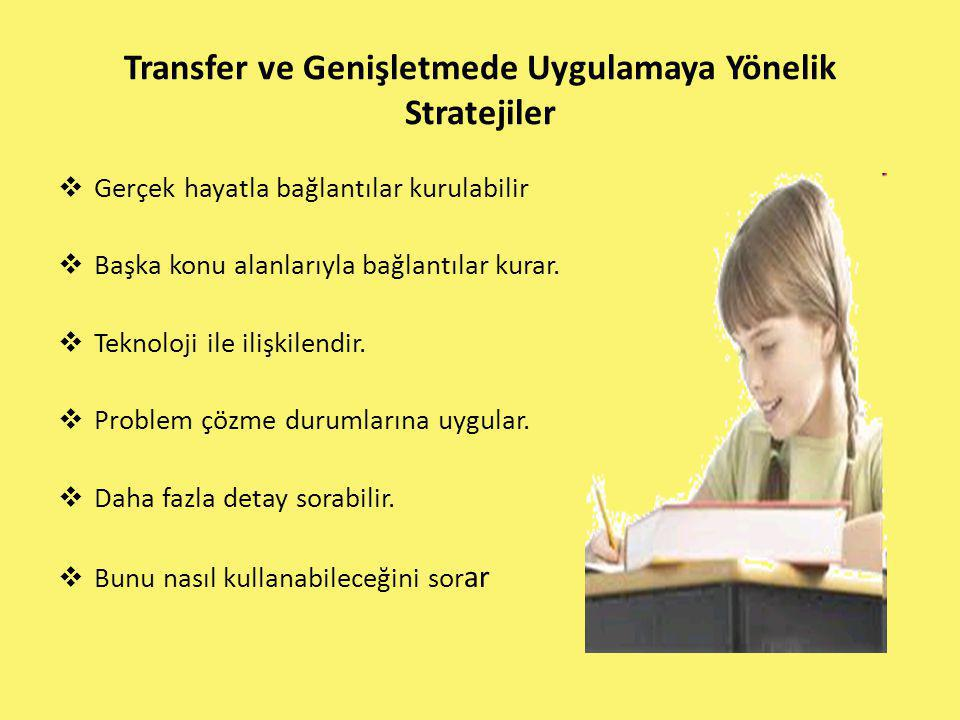 Transfer ve Genişletmede Uygulamaya Yönelik Stratejiler