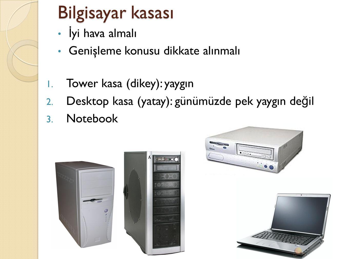 Bilgisayar kasası İyi hava almalı Genişleme konusu dikkate alınmalı