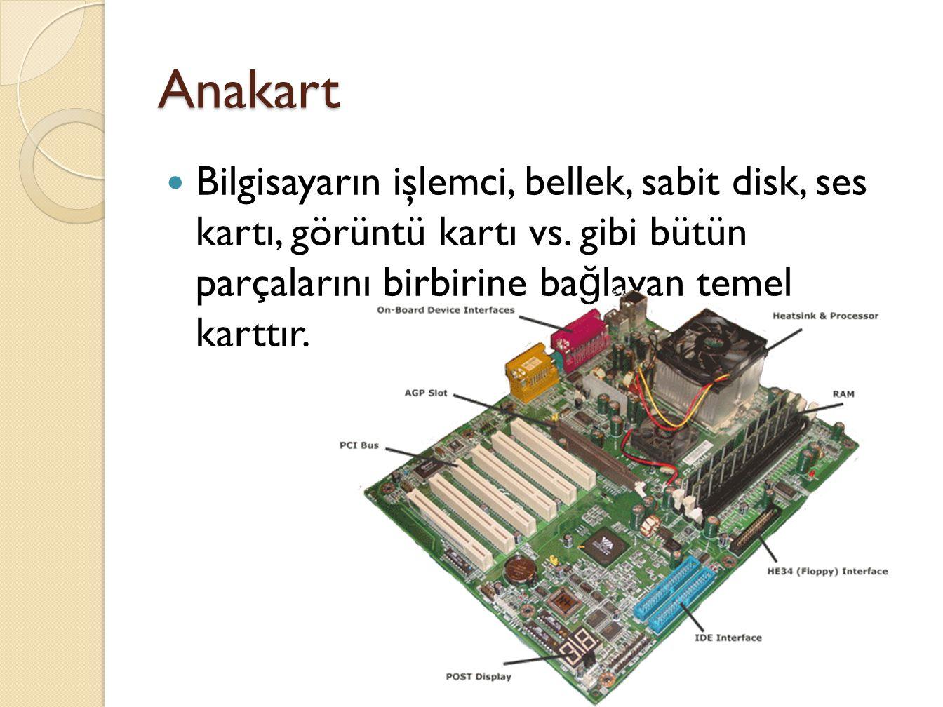Anakart Bilgisayarın işlemci, bellek, sabit disk, ses kartı, görüntü kartı vs.