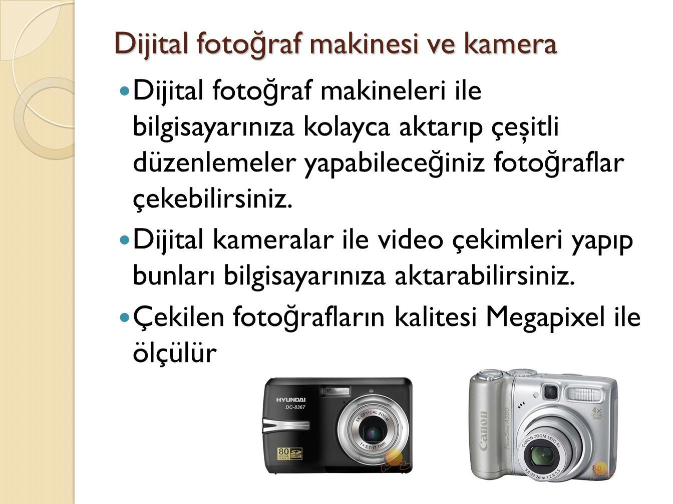Dijital fotoğraf makinesi ve kamera