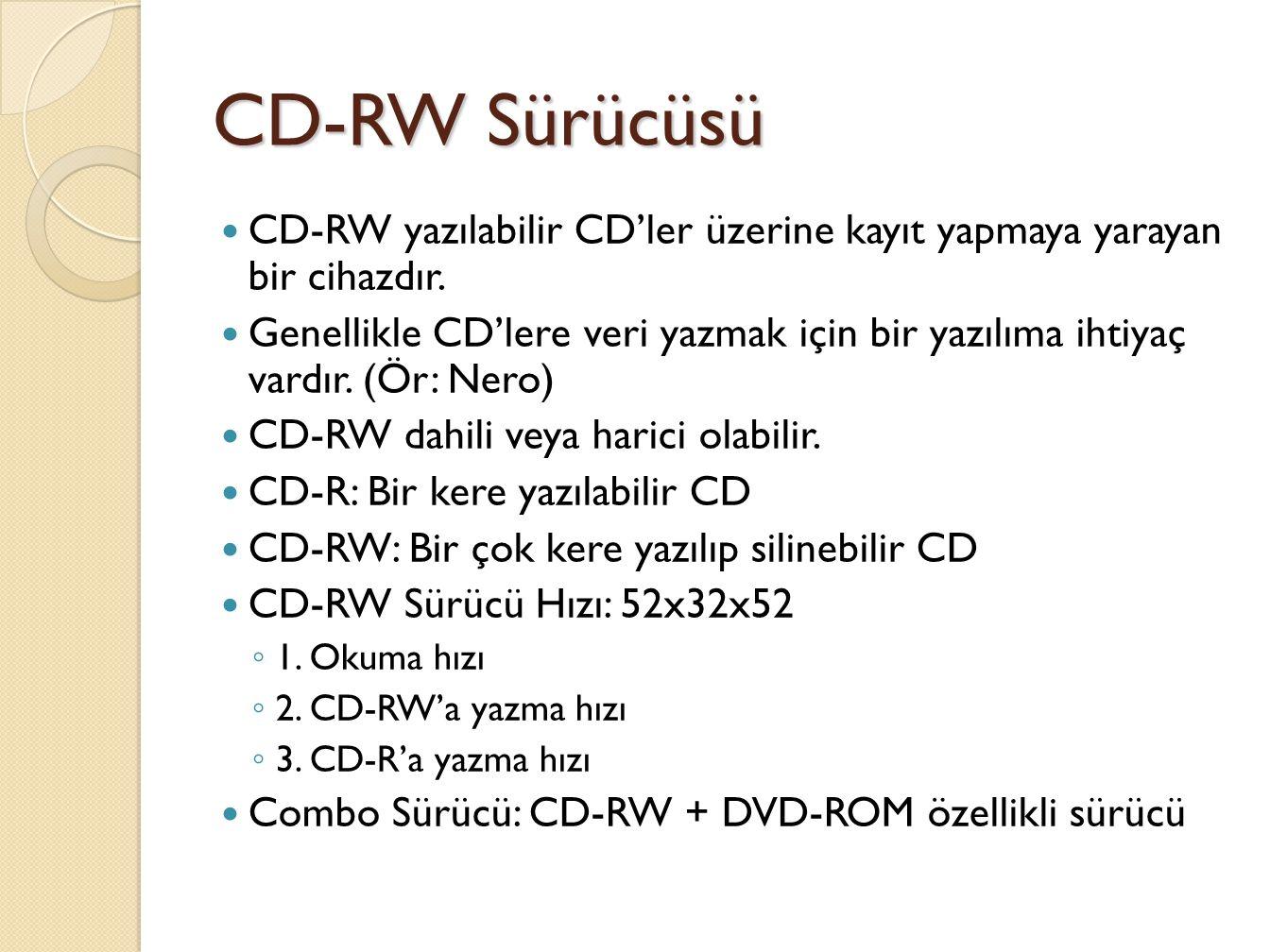 CD-RW Sürücüsü CD-RW yazılabilir CD'ler üzerine kayıt yapmaya yarayan bir cihazdır.