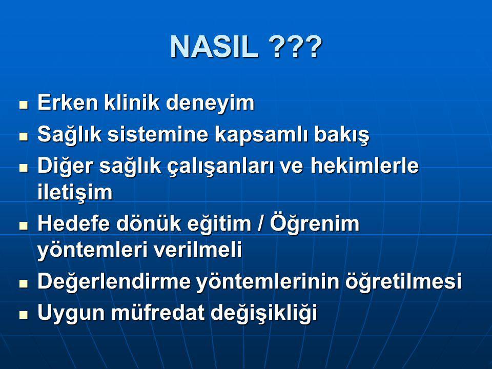 NASIL Erken klinik deneyim Sağlık sistemine kapsamlı bakış