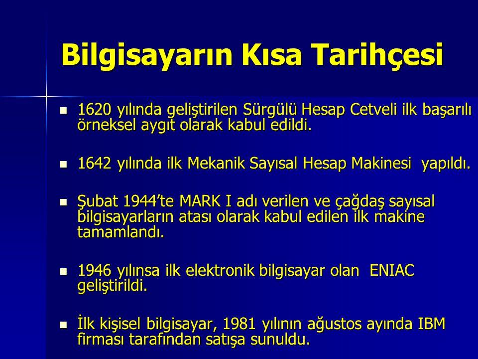 Bilgisayarın Kısa Tarihçesi