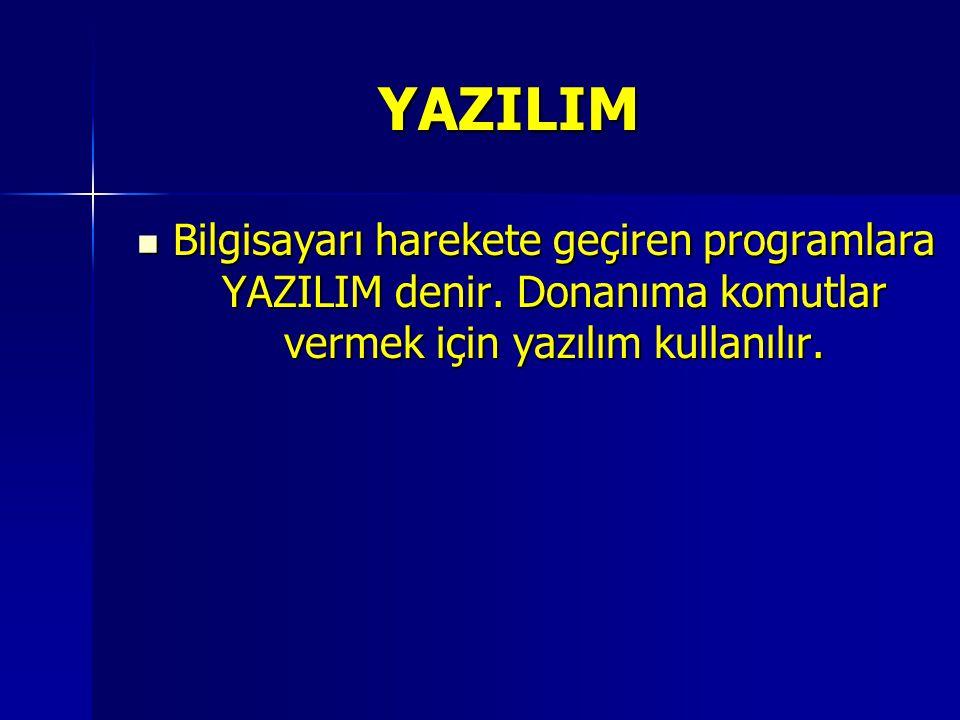 YAZILIM Bilgisayarı harekete geçiren programlara YAZILIM denir.