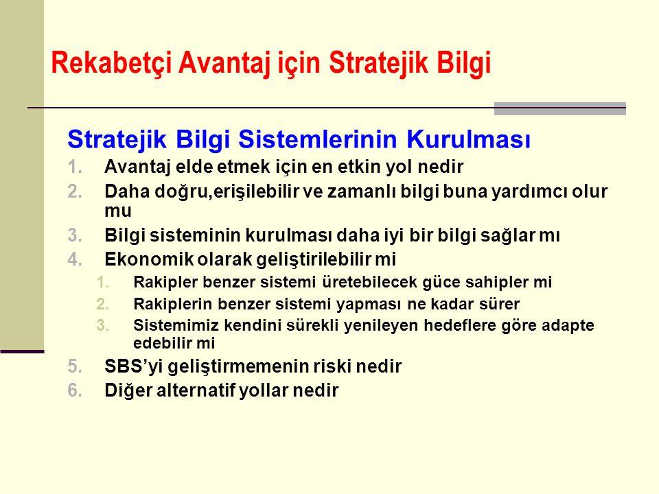 Rekabetçi Avantaj için Stratejik Bilgi