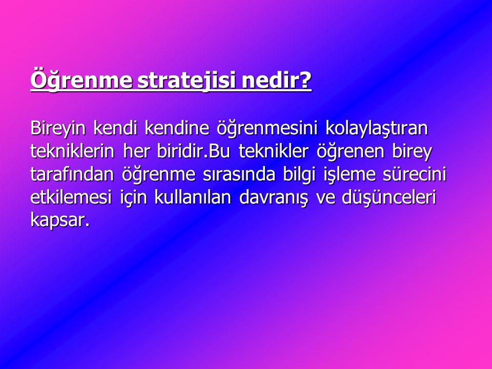 Öğrenme stratejisi nedir