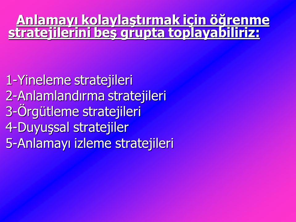 Anlamayı kolaylaştırmak için öğrenme stratejilerini beş grupta toplayabiliriz: