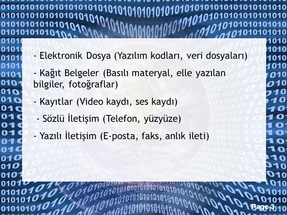- Elektronik Dosya (Yazılım kodları, veri dosyaları)