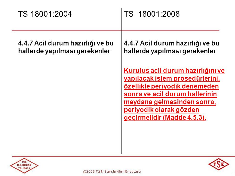 TS 18001:2004 TS 18001:2008. 4.4.7 Acil durum hazırlığı ve bu hallerde yapılması gerekenler.