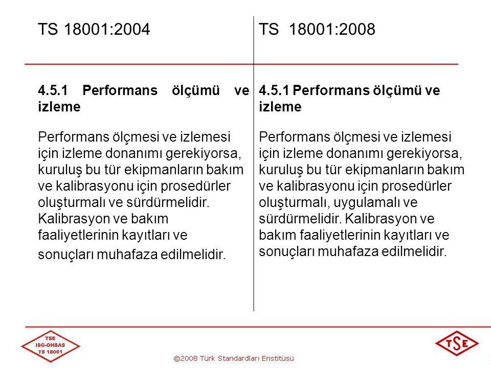 TS 18001:2004 TS 18001:2008 4.5.1 Performans ölçümü ve izleme
