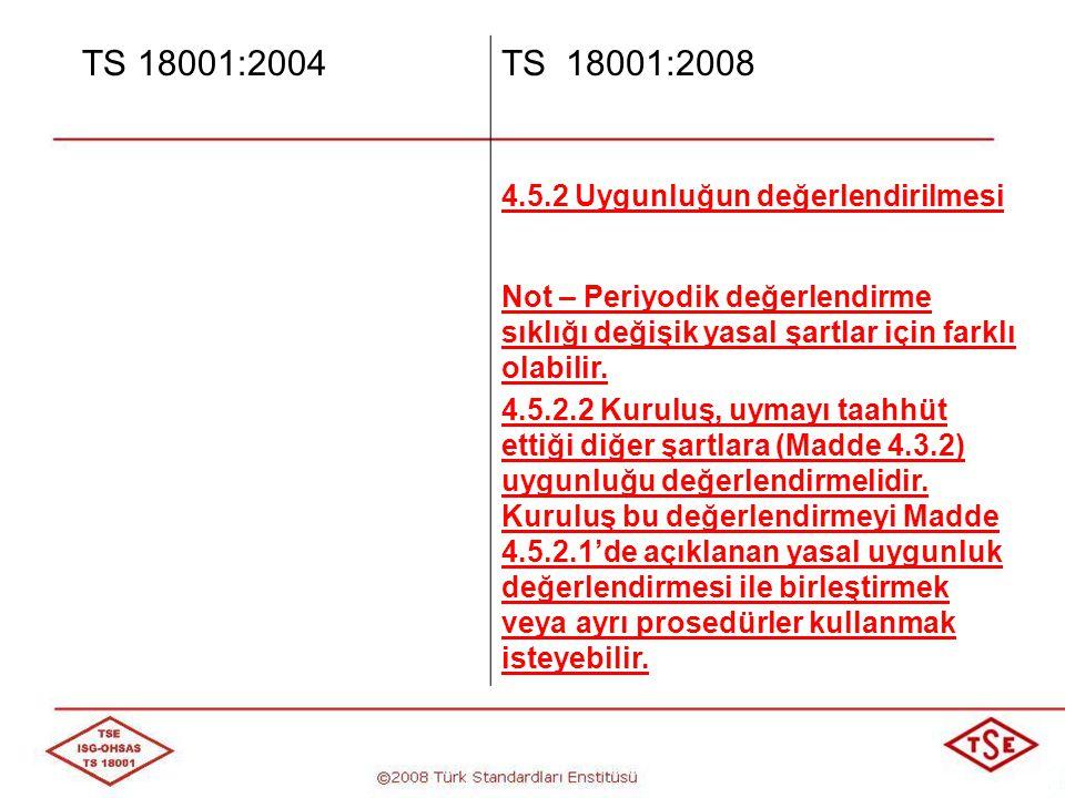 TS 18001:2004 TS 18001:2008 4.5.2 Uygunluğun değerlendirilmesi