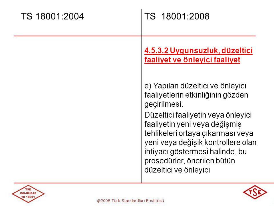TS 18001:2004 TS 18001:2008. 4.5.3.2 Uygunsuzluk, düzeltici faaliyet ve önleyici faaliyet.