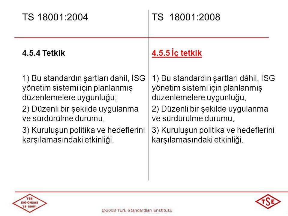 TS 18001:2004 TS 18001:2008 4.5.4 Tetkik 4.5.5 İç tetkik
