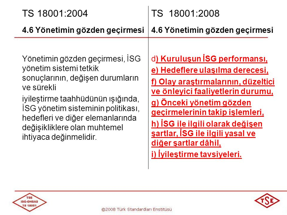 TS 18001:2004 TS 18001:2008 4.6 Yönetimin gözden geçirmesi