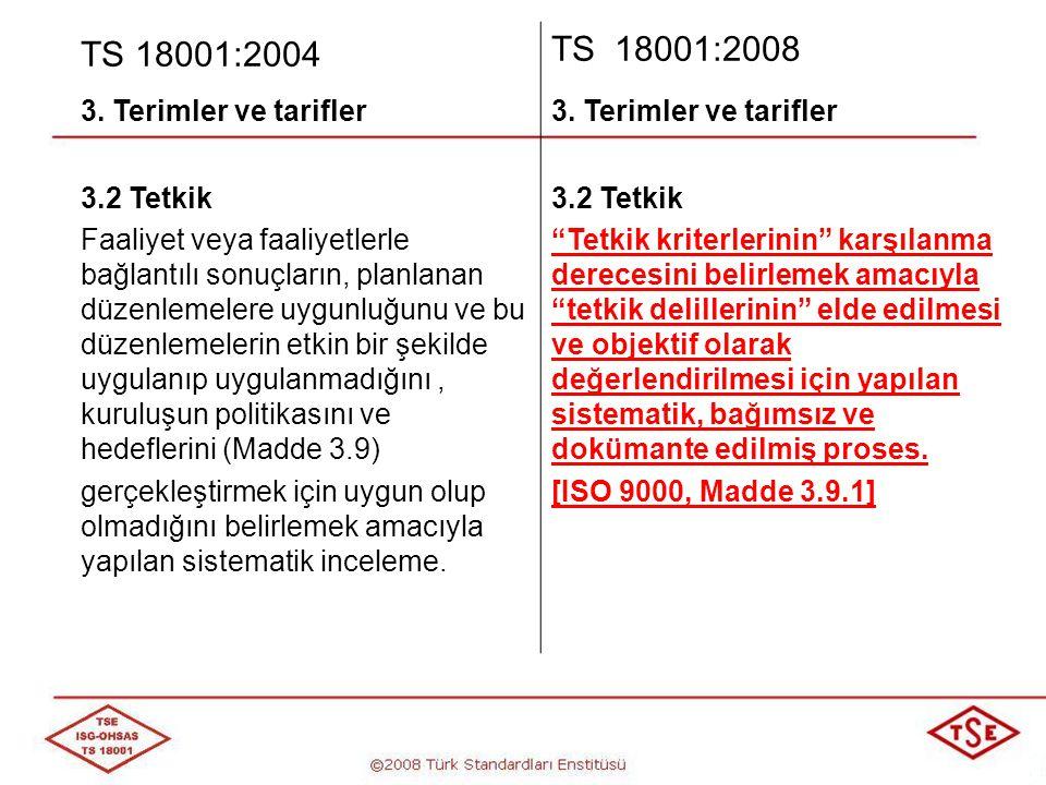 TS 18001:2004 TS 18001:2008 3. Terimler ve tarifler 3.2 Tetkik