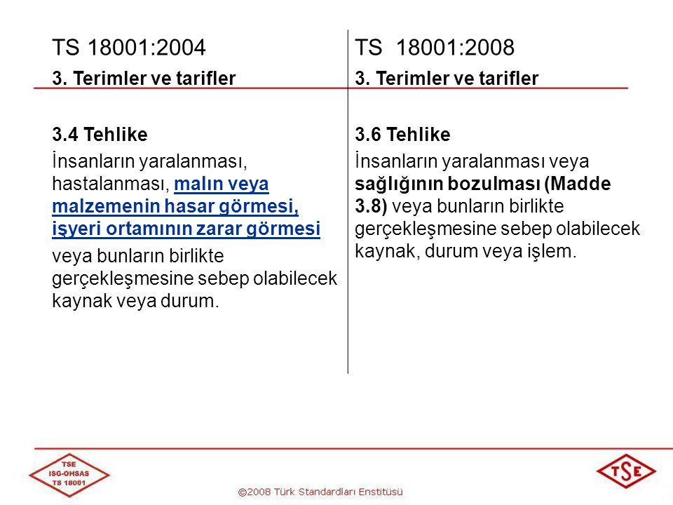 TS 18001:2004 TS 18001:2008 3. Terimler ve tarifler 3.4 Tehlike