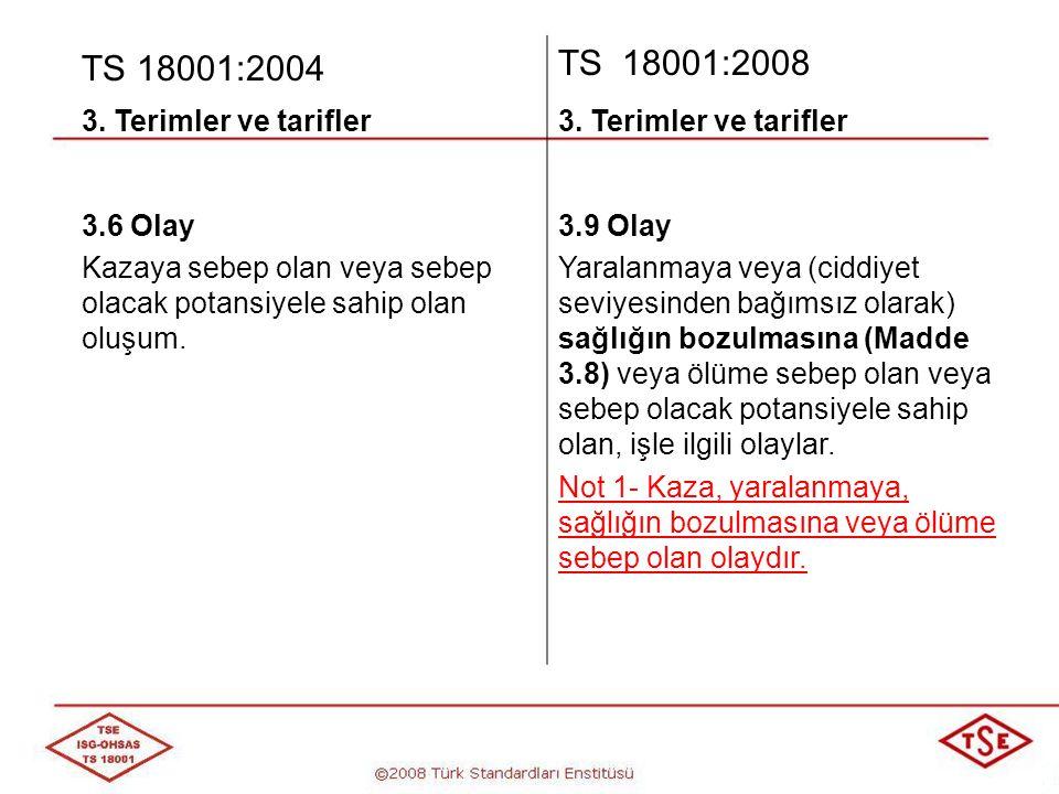 TS 18001:2004 TS 18001:2008 3. Terimler ve tarifler 3.6 Olay
