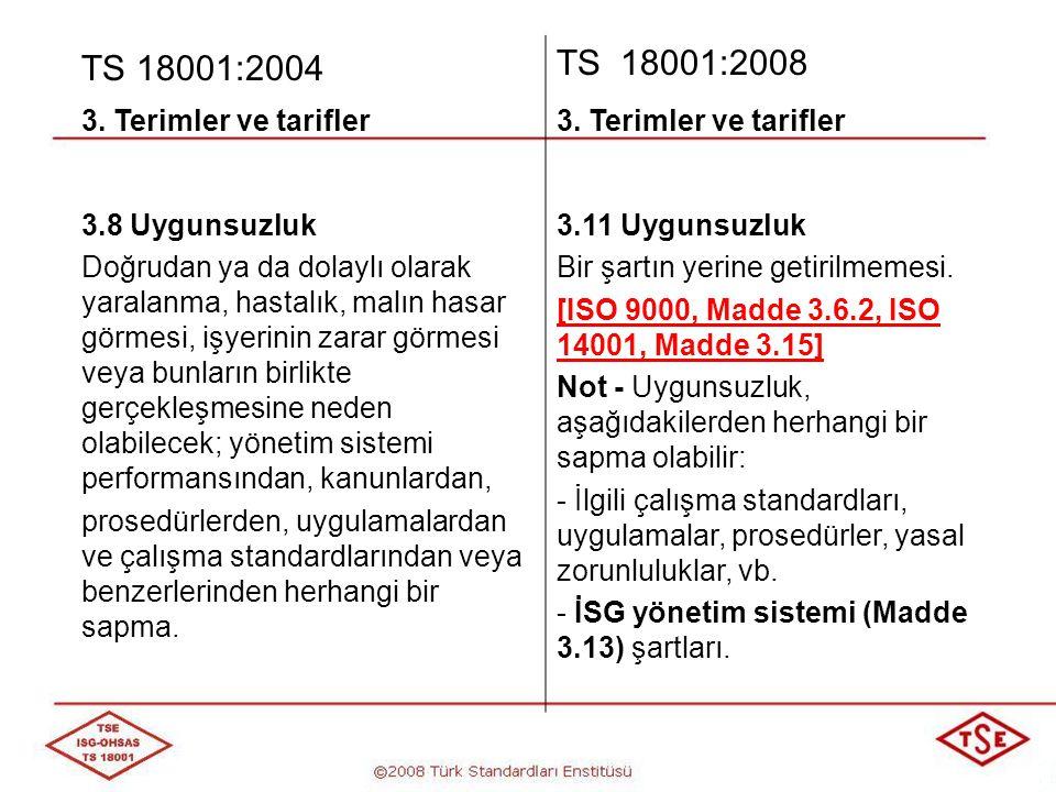 TS 18001:2004 TS 18001:2008 3. Terimler ve tarifler 3.8 Uygunsuzluk