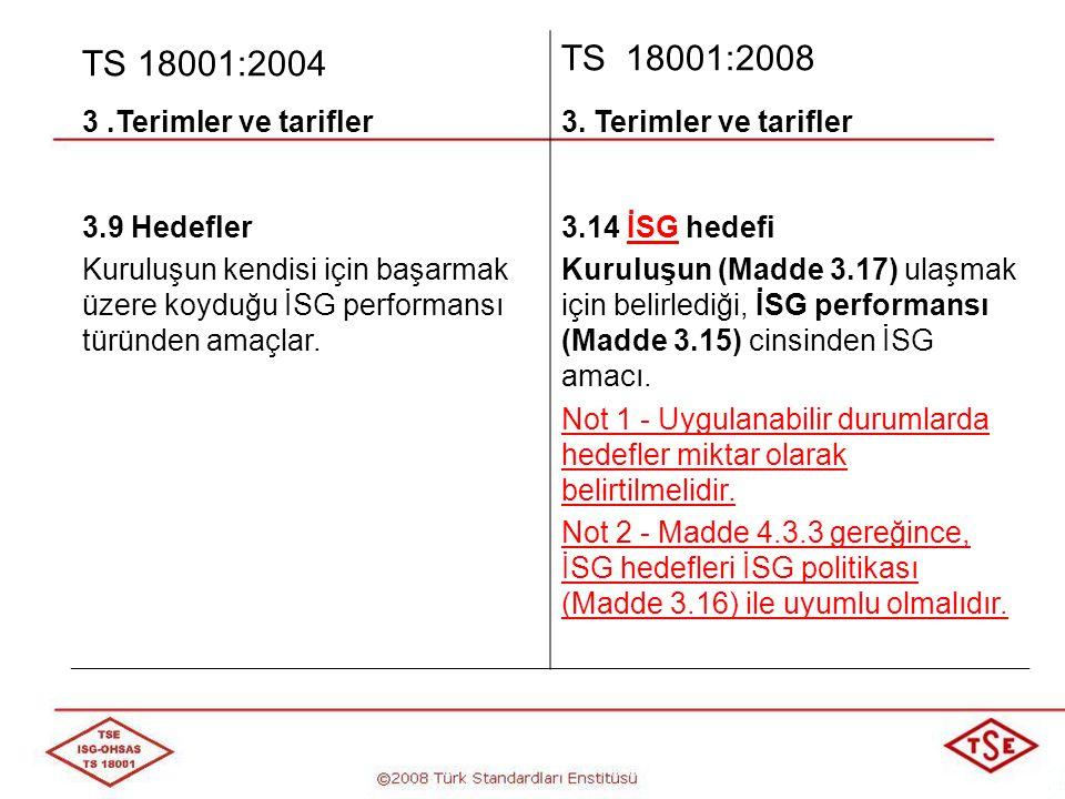 TS 18001:2004 TS 18001:2008 3 .Terimler ve tarifler