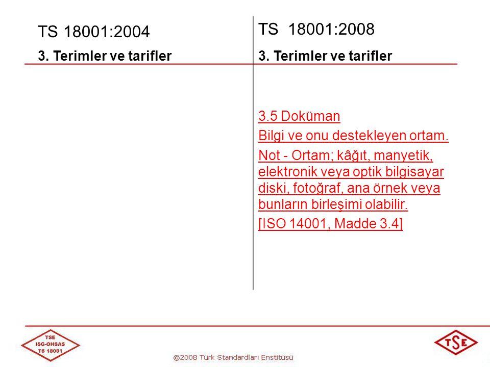 TS 18001:2004 TS 18001:2008 3. Terimler ve tarifler 3.5 Doküman