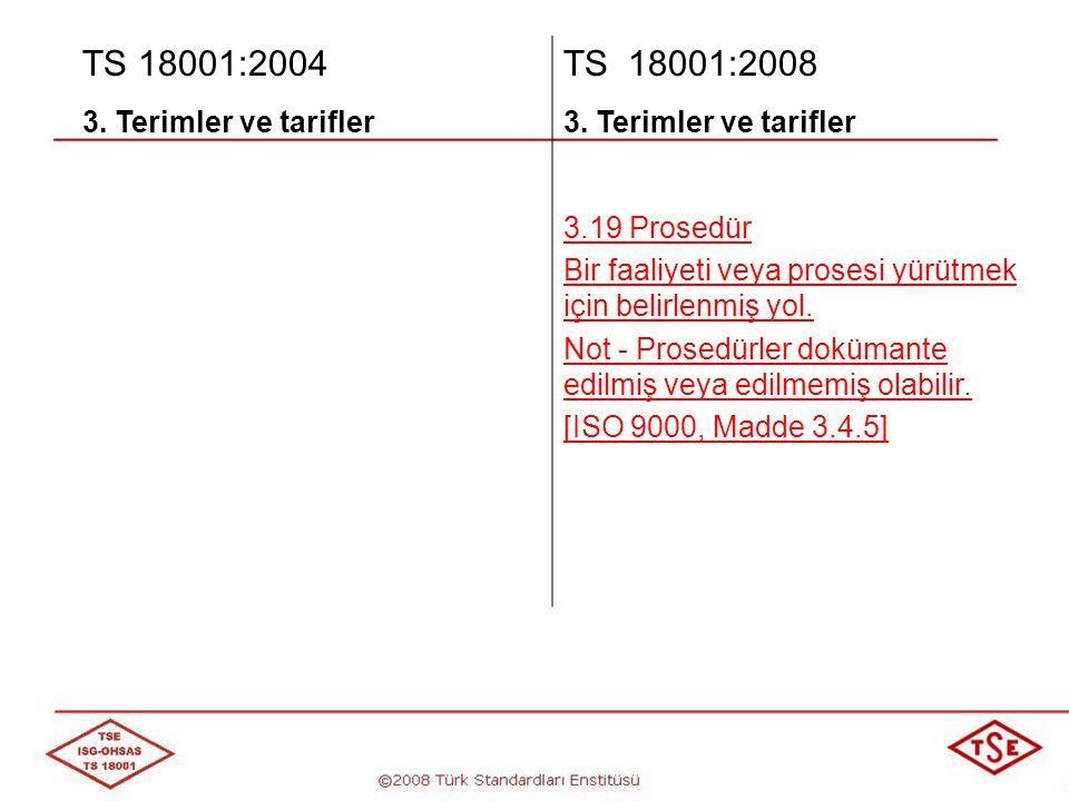 TS 18001:2004 TS 18001:2008 3. Terimler ve tarifler 3.19 Prosedür