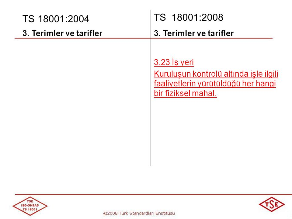 TS 18001:2004 TS 18001:2008 3. Terimler ve tarifler 3.23 İş yeri