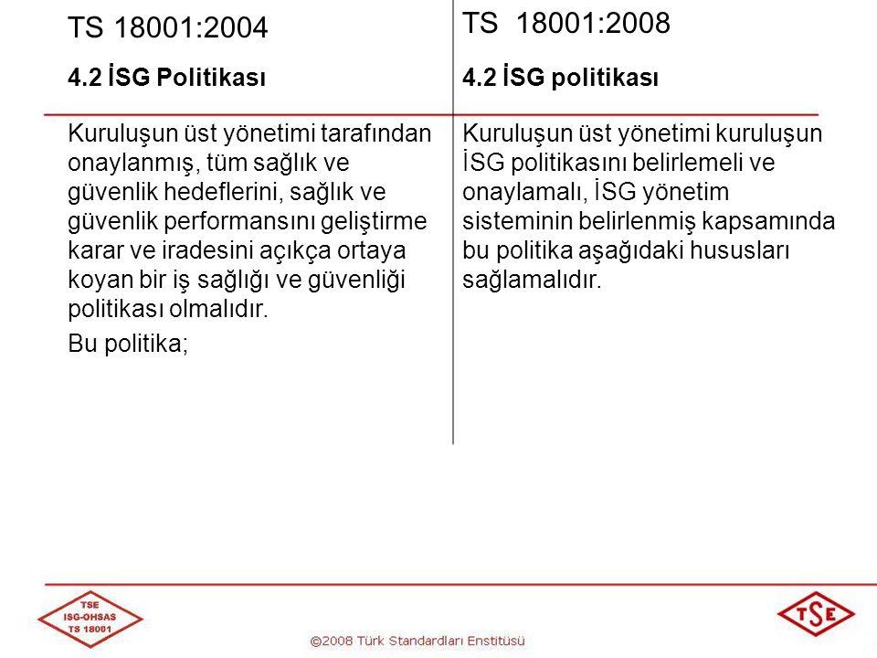 TS 18001:2004 TS 18001:2008 4.2 İSG Politikası 4.2 İSG politikası