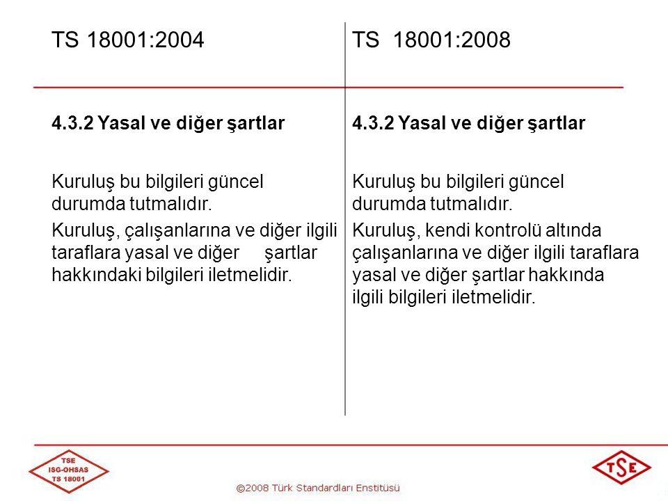 TS 18001:2004 TS 18001:2008 4.3.2 Yasal ve diğer şartlar