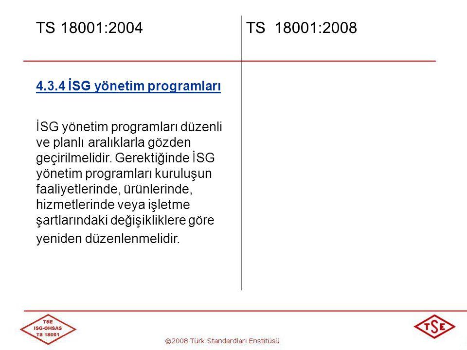 TS 18001:2004 TS 18001:2008 4.3.4 İSG yönetim programları