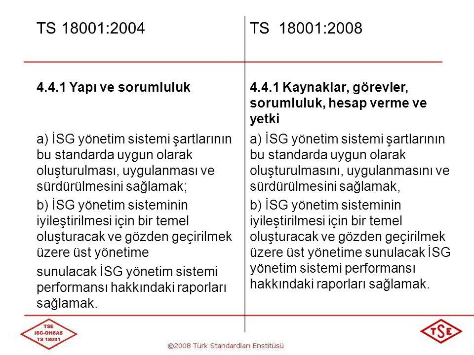 TS 18001:2004 TS 18001:2008 4.4.1 Yapı ve sorumluluk