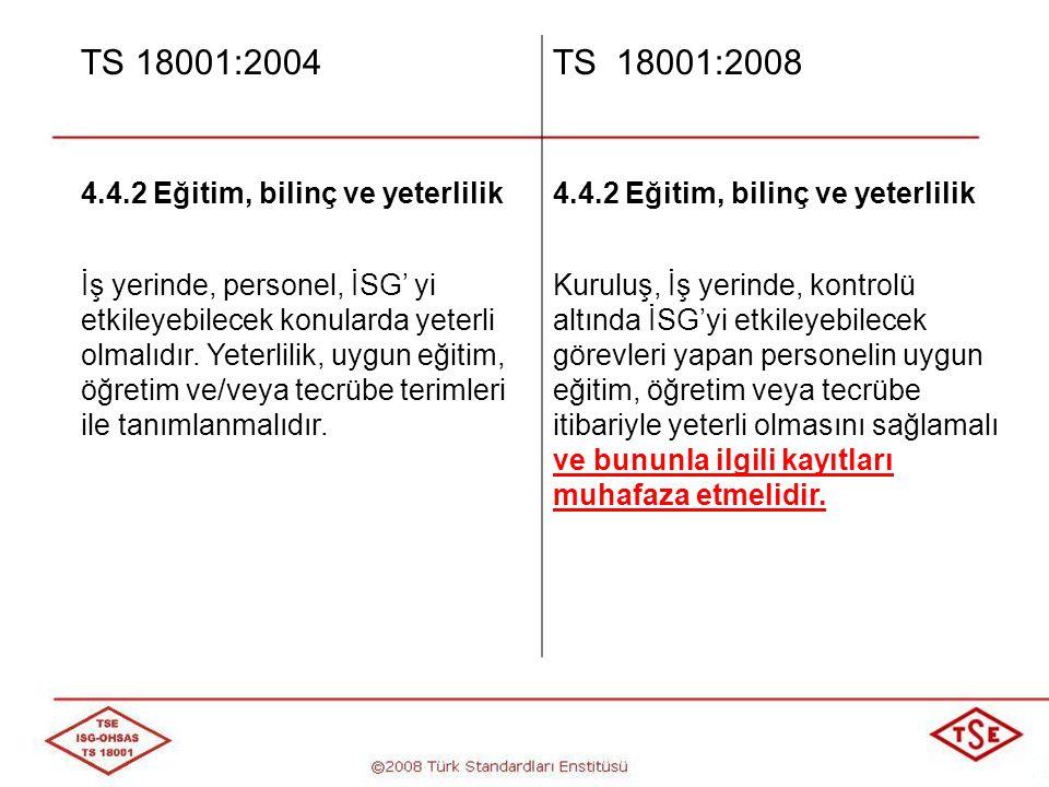TS 18001:2004 TS 18001:2008 4.4.2 Eğitim, bilinç ve yeterlilik