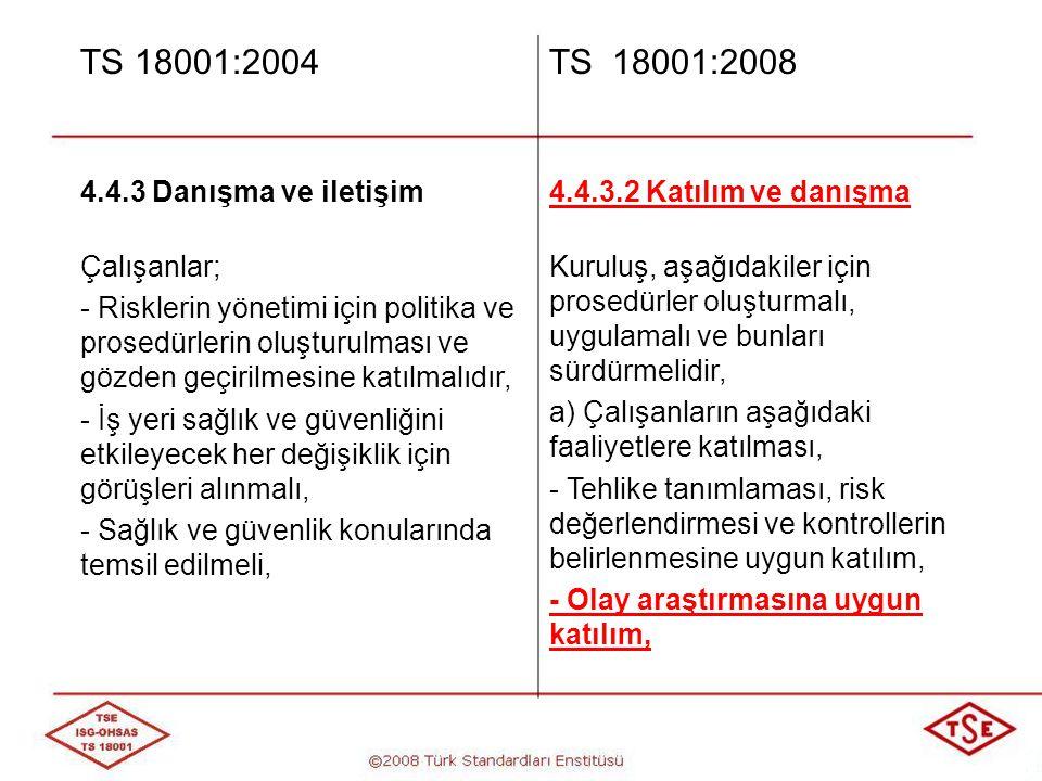 TS 18001:2004 TS 18001:2008 4.4.3 Danışma ve iletişim