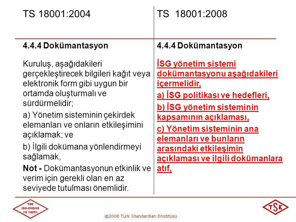TS 18001:2004 TS 18001:2008. 4.4.4 Dokümantasyon.