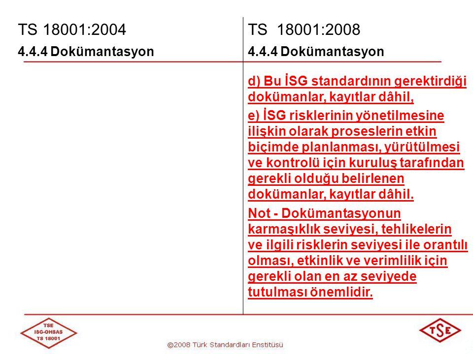 TS 18001:2004 TS 18001:2008. 4.4.4 Dokümantasyon. d) Bu İSG standardının gerektirdiği dokümanlar, kayıtlar dâhil,