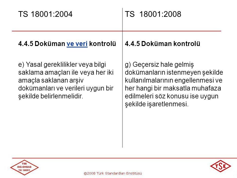 TS 18001:2004 TS 18001:2008 4.4.5 Doküman ve veri kontrolü