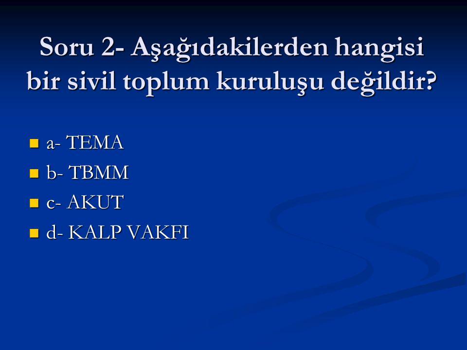 Soru 2- Aşağıdakilerden hangisi bir sivil toplum kuruluşu değildir