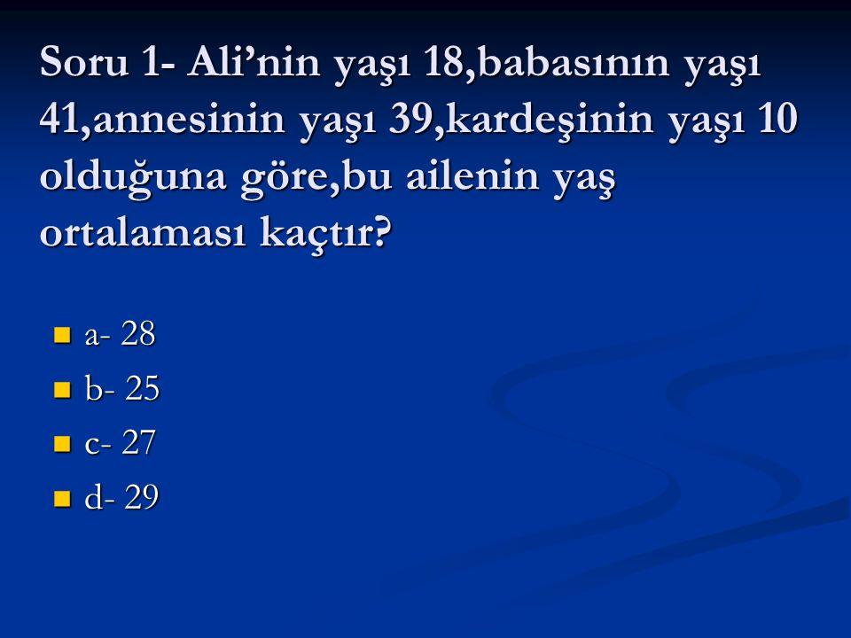 Soru 1- Ali'nin yaşı 18,babasının yaşı 41,annesinin yaşı 39,kardeşinin yaşı 10 olduğuna göre,bu ailenin yaş ortalaması kaçtır